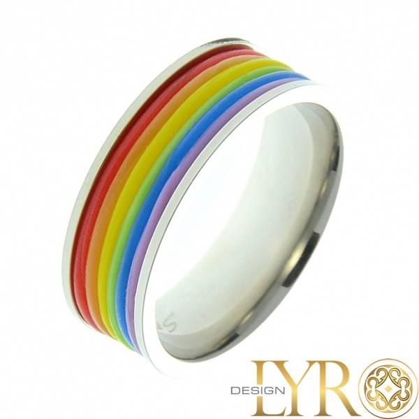 Bilde av Pride - Stålring med Gummibånd