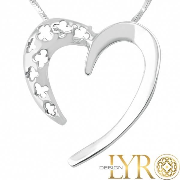 Bilde av Sølvhjerte med Blomster - Sølv